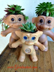 Create a quirky container by planting a troll doll with succulents