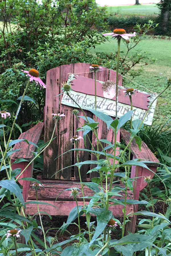 Old chairs are great flea market finds to use in the garden