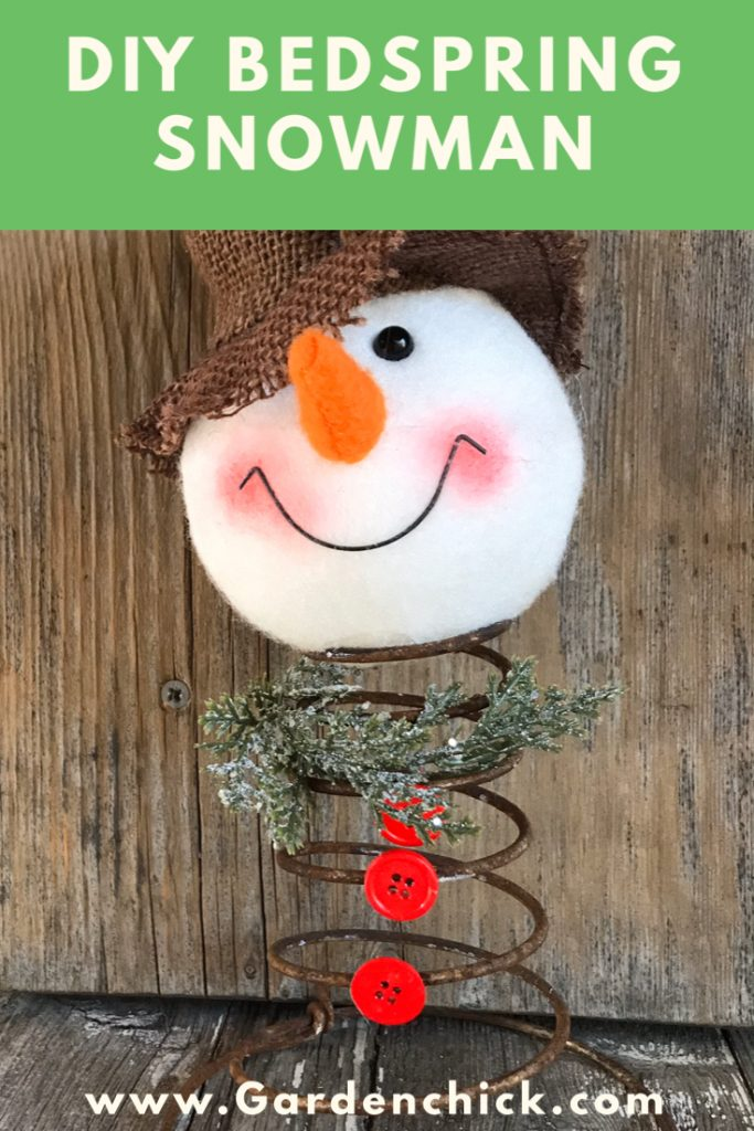 You can repurpose a rusty bedspring to create this snowman