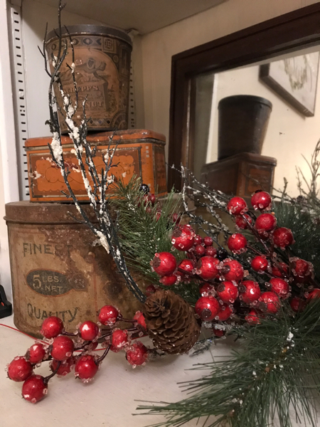 Use your collection of vintage tins in your Christmas decor