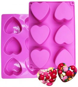 silicone candy molds can be use to create Valentine themed lotion bars and soaps